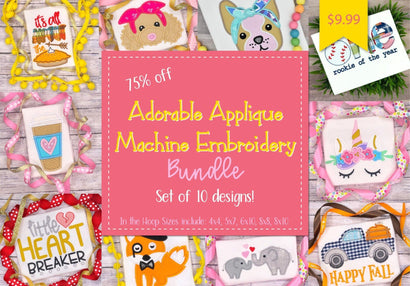 Applique Machine Embroidery Design Bundle (Set of 10) Bundle So Fontsy Design Shop