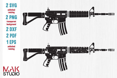 AR-15 gun svg - AR-15 gun dxf - AR-15 gun eps - Rifle svg - Rifle cut files SVG MAKStudion