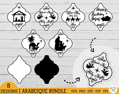 Arabesque Christmas bundle SVG,Nativity tile ornament,Manger SVG Redearth and gumtrees