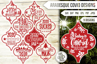 Arabesque Covid Svg. Arabesque Svg Bundle. 2020 Arabesque Tile Christmas Ornaments. 2020 Pandemic Svg. Quarantine Dxf, Eps, Png, Jpg, Pdf SVG Mint And Beer Creations