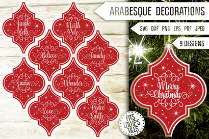 Arabesque Tile Svg Bundle. Arabesque Svg. Arabesque Ornaments Svg. Christmas Sayings. Lowe's Tile Svg. Merry Christmas. Dxf, Eps, Png, Pdf SVG Mint And Beer Creations