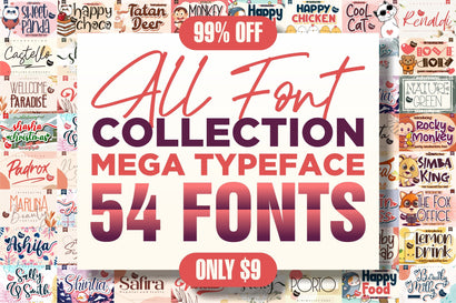 AWESOME BIG BUNDLE ALL COLLECTION - 54 Font Collection Font Letterena Studios