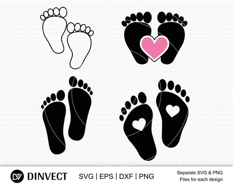 Baby feet SVG, Baby Feet Bundle Svg, Baby footprint svg, Baby foot Silhouette, Newborn svg, Baby feet monogram, split name frame svg,Boy Feet Svg Digital Print, Cricut file png, dxf, eps SVG Dinvect