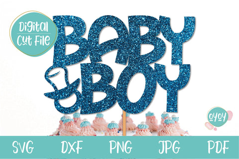 Baby Shower SVG | Baby Boy Cake Topper SVG with pacifier SVG OyoyStudioDigitals