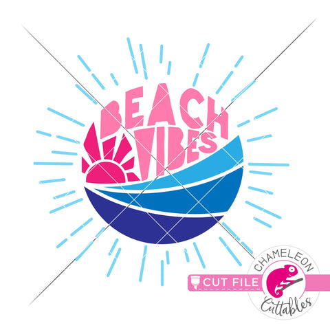 Beach vibes circle with rays svg png dxf SVG Chameleon Cuttables