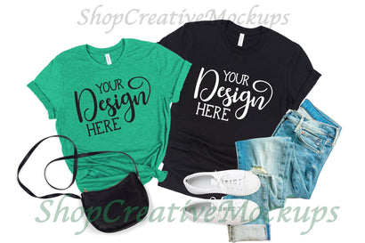 Bella Canvas 3001 Heather Kelly Green & Black Couples T-Shirt Mockup Mock Up Photo ShopCreativeMockups