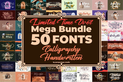 Best Seller - Awesome Mega Bundle 50 Fonts from Perspectype Font Perspectype Std