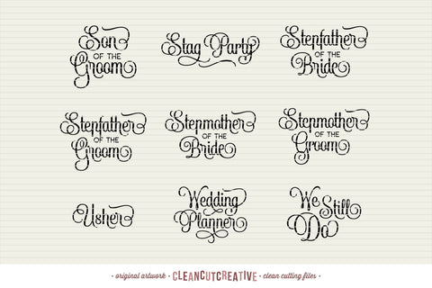 Big Bridal Bundle - Wedding Party 45 ENTOURAGE words SVG cutfiles SVG CleanCutCreative