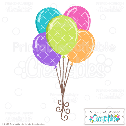 Birthday Balloons SVG Printable Cuttable Creatables