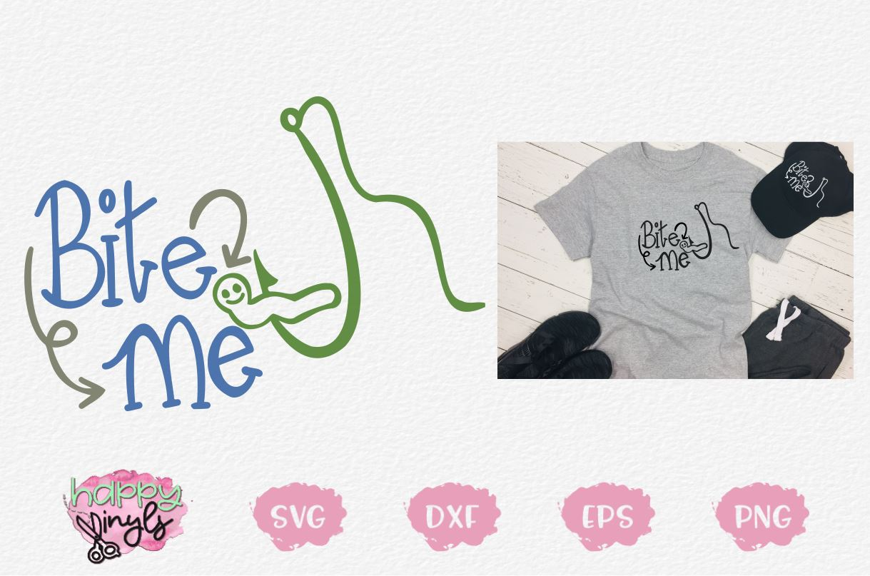Download Bite Me With Worm On Fishing Hook A Fishing Svg So Fontsy