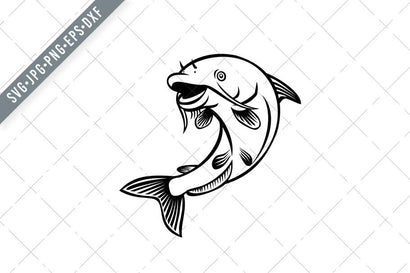 Blue Catfish Ictalurus Furcatus Jumping Up Cartoon Black and White SVG SVG Patrimonio Designs Limited