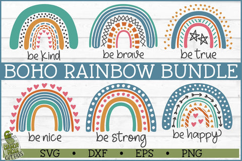 Boho Rainbow Inspirational SVG Bundle SVG Crunchy Pickle