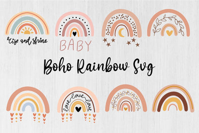 Boho Rainbow svg bunDle, Boho Rainbow Clipart SVG DIYCUTTINGFILES