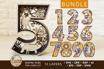 Bundle NUMBERS Multilayer Laser Cut Files, Mandala, Sign SVG SVG LaserCutano