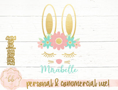 Bunny face with floral crown SVG Blessed Belle Studio