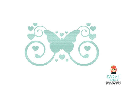 Butterfly Heart Swirl SVG Sarah Hurley