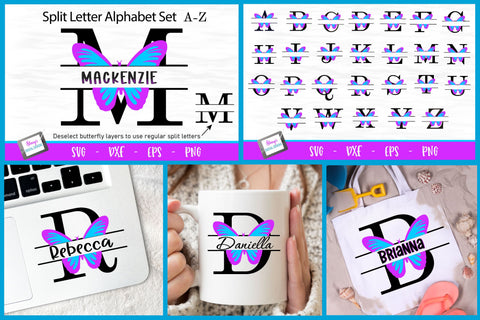Butterfly Split Letters A-Z - 26 Split Monogram SVG files SVG Stacy's Digital Designs