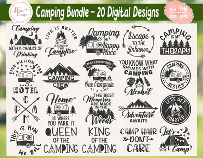 Camping Bundle - SVG, PNG, DXF, EPS SVG Elsie Loves Design