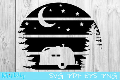 Camping Moon and Stars Camper SVG Whistlepig Designs