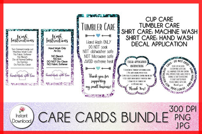 Care Card Mini Bundle, Tumbler Care Card, Shirt Wash Instructions, Decal Application SVG LaurelMagnoliaDesign