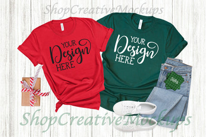 Christmas Bella Canvas 3001 Red & Forest T-Shirt Mockup Mock Up Photo ShopCreativeMockups