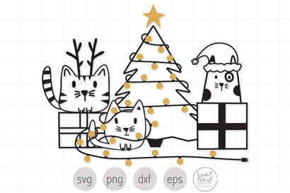 Christmas Cats with Presents and Christmas Tree SVG, Christmas svg, Cats svg SVG Lynda M Metcalf