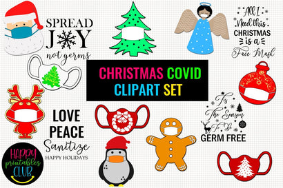 Christmas COVID Clipart Set- Christmas Clipart Face Masks SVG Happy Printables Club