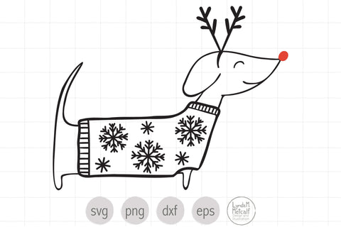 Christmas Dog in Sweater SVG SVG Lynda M Metcalf