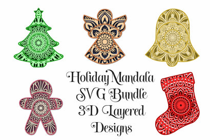 Christmas Mandala Bundle - 3D Layered Mandalas SVG Digital Honeybee