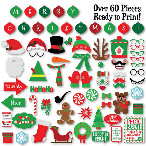 Christmas Photo Booth Props SVG Cut File Bundle SVG Old Market