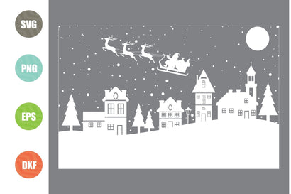 Christmas Scene Svg, Christmas Scene with Santa svg, Christmas svg SVG Artstoredigital