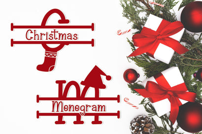 Christmas Surprise Monogram Font AEN Creative Store