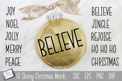 Christmas SVG - Skinny Christmas Words SVG - 10 Christmas Words SVG Stacy's Digital Designs
