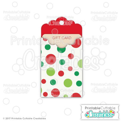Christmas Tag Gift Card Holder SVG Printable Cuttable Creatables