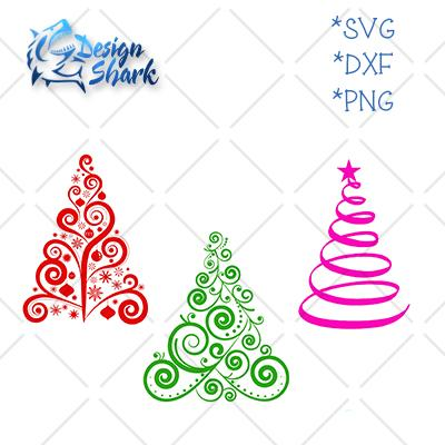Christmas Tree Set SVG Design Shark