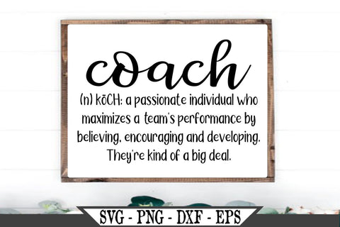 Coach Definition SVG Vector Cut File Team Sports SVG Vector Cut File SVG My Sassy Gifts