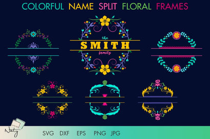 Colorful name split floral frames. SVG Arts By Naty