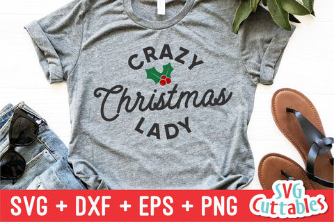 Crazy Christmas Lady svg - Christmas svg - Cut File - svg - eps - dxf - png - Funny - Silhouette - Cricut file - Digital File SVG Svg Cuttables