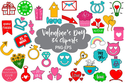 Cute Valentines Day Clipart- Valentines Day Elements SVG Happy Printables Club