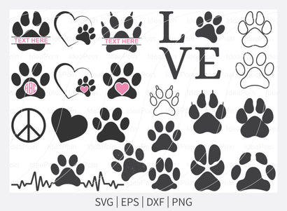 Dog paw svg, Dog paw bundle svg, Dog love svg, paw heart svg, Paw svg, dog paw print svg, dog paw Vector, paw clipart, Dog monogram paw svg, Cameo, Vinyl Designs, Iron On Decals, Cricut cut files, svg, eps, dxf, png SVG Dinvect