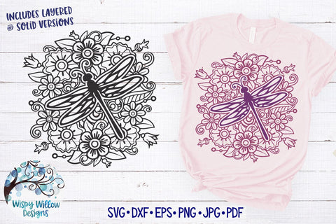 Dragonfly Mandala SVG SVG Wispy Willow Designs