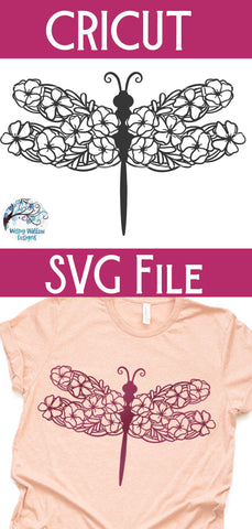 Dragonfly with Flowers Svg SVG Wispy Willow Designs