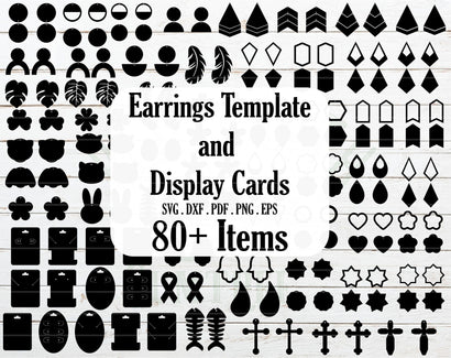 Earrings template bundle SVG, earrings display card template SVG Redearth and gumtrees