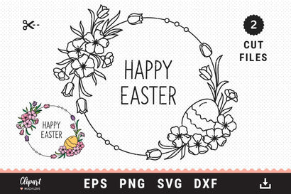 Easter SVG Floral wreath svg, dxf, png, eps. Easter circle monogram svg SVG ClipartMuchLove