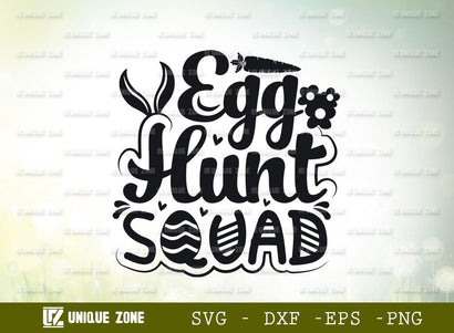 Egg Hunt Squad | Happy Easter | Easter Bunny | Bunny Ears | Heart Shape | T-shirt Design SVG Unique Zone
