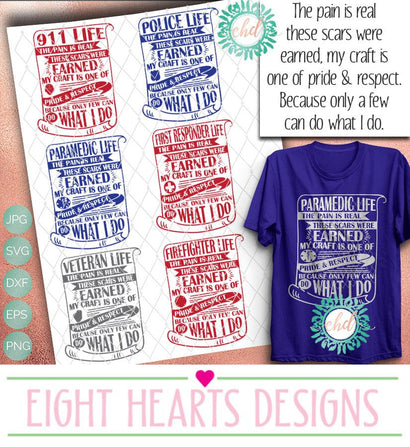 EMS Life - 5 designs in total -- SVG SVG Eight Hearts Designs