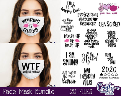 Face Mask Svg Bundle - Face Mask Quotes - Funny Face Mask Svg SVG Crafty Mama Studios