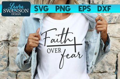Faith Over Fear with Cross SVG Cut File SVG Laura Swanson Design