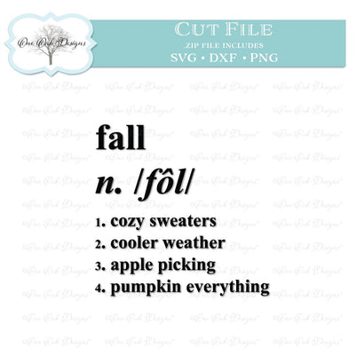 Fall Definition SVG One Oak Designs