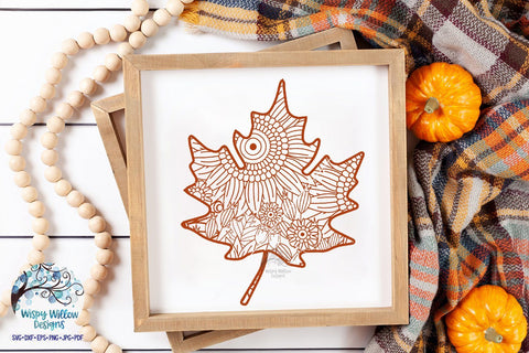 Fall Leaf Zentangle SVG SVG Wispy Willow Designs